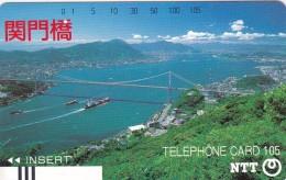 Japan, 390-064, Ships Under Bridge., 2 Scans.  Barcode Balken Front Bar. - Giappone