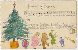 Carte Dessin Main Marche Des Joujoux Sapin De Noel Nounours Polichinelle - Christmas