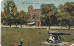 Postcard 1916, Richmond On Thames, The Theatre, Gun. Used By Belgian Mititay Post - London Suburbs