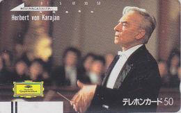 Télécarte Ancienne Japon / 110-22974 - MUSIQUE - KARAJAN / Austria - MUSIC Japan Front Bar Phonecard / B - Balken TK - Musik