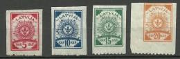 LETTLAND Latvia 1919 Michel 7 - 10 B (unten Perf 9 3/4) MNH/MH - Lettland