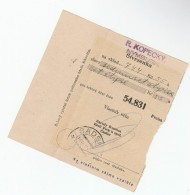 1931 Sadska CZECHOSLOVAKIA Pmk On POST OFFICE SAVINGS BANK CHEQUE RECEIPT - Czechoslovakia