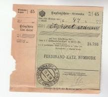 1907 Podebrady BOHEMIA Pmk On POST OFFICE SAVINGS BANK CHEQUE RECEIPT Czechoslovakia Austria - Sin Clasificación