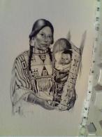 ILLUSTRATA INDIANI AMERICA NORD  SQUAW W BAMBINO DONNA  N1970 FK271 - Indiani Dell'America Del Nord