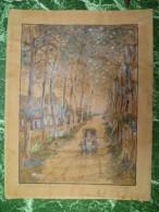 Liège - Sart-Tilman 1937. Grande Aquarelle Originale Signée Rasquin (université Boncelles) - Aquarel