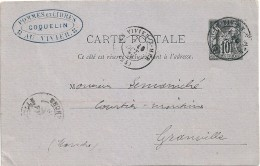 France Entier Postal Sage 10 C  Coquelin Viviers Sur Mer Granville Voir Scanns   Port Offert - Cartoline Postali E Su Commissione Privata TSC (ante 1995)