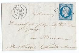 LETTRE 20 C EMPIRE N°14  BAVAY   A  WASSY  PC - 1849-1876: Periodo Classico