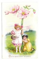 Tuck Fantasy Birthday Postcard Girls Giant Pink Flowers Children Vintage Embossed - Birthday