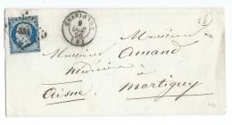 LETTRE 20 C EMPIRE  N° 14 CHAVIGNON   A  MARTIGNY  PC - 1849-1876: Periodo Classico