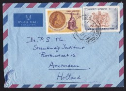 Chile: Airmail Cover To Netherlands, 1972, 2 Stamps, Coin Press, Heraldry (minor Damage) - Chili