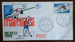 ANDORRE Jeux Olympiques  MEXICO 68. Yvert N°190 FDC. Enveloppe 1er Jour. Saut En Hauteur - Summer 1968: Mexico City