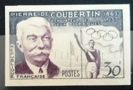 FRANCE Yvert 1088 Non Dentelé (imperforate) Jeux Olympiques (olympic Games) COUBERTIN 1956 - Sommer 1956: Melbourne