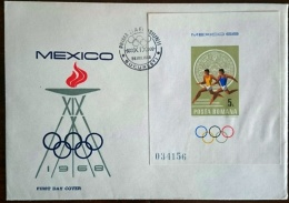 ROUMANIE Jeux Olympiques  MEXICO 68. Yvert BF 68  FDC. Enveloppe 1er Jour. Course A Pied - Summer 1968: Mexico City
