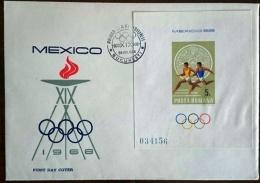 ROUMANIE Jeux Olympiques  MEXICO 68. Yvert BF 68  FDC. Enveloppe 1er Jour. Course A Pied - Verano 1968: México