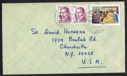 Chile: Cover To USA, 1979, 3 Stamps, Christmas, Birth Of Christ, Portales (traces Of Use) - Chili