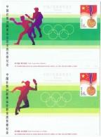 TEN-L10 - CHINE 2 Entiers Postaux Cartes Illustrées Thème TENNIS DE TABLE Médailles D'Or Obtenus Aux J.O. - Postcards