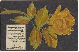 Tres Belle Carte Faite Main Velours Et Celluloid Rose  Avec Poeme En Espagnol Chili - Cartes Postales