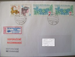 Czech Registered Cover With Special R-label 140 Year Fire Departement Of Litomerice 2004 (Sonder R-Zettel) - Lettres & Documents