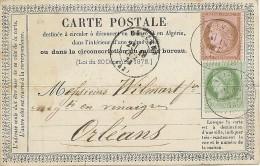 LBL26B2 - CARTE PRÉCURSEUR MOD 1873 TYPE 1 CERES N°53+54 PLI MEDIAN - Entiers Postaux