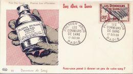 Enveloppe FDC  - Donneurs De Sang - Sang Donné, Vie Sauvé - Paris - 17/10/1959 - FDC