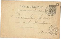 """LBL26B2 - CARTE POSTALE SAGE 10c AGHIET LE GRAND / AMIENS 23/2/1896 (DIMANCHE?) """"OR"""" CACHET ARRIVEE 24/2 - Cartoline Postali E Su Commissione Privata TSC (ante 1995)"""