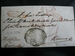 Da Racalmuto A Palermo Di Real Servizio 1841 Completa Timbro Arrivo 19.2.41 - Italia