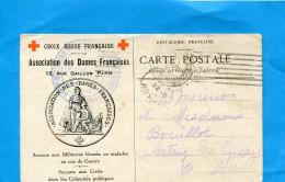 MARCOPHILIE- Cp CROIX ROUGE--illustrée Association Des Dames Françaises1916 - Oorlog 1914-18