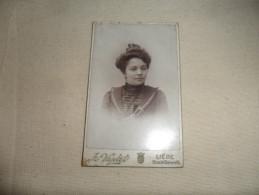 ANCIENNE  PHOTO  SUR CARTON  / PORTRAIT DE  FEMME / G. VARLET / LIEGE - Antiche (ante 1900)