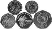 SAO TOME AND PRINCIPE 100, 250, 500, 1000, 2000 DOBRAS 5 COINS SET 1997 UNC - Sao Tome And Principe