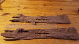Handschoenen,lange Bruine , Vintage, - Habits & Linge D'époque
