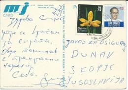 Sri Lanka (Ceylon) Via Macedonia.Postcard - Fishing From Stilts.Weligama.nice Stamp - Orchids - Sri Lanka (Ceylan) (1948-...)