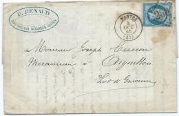 1946 Lettre 1865 Nantes GC 2602 Napoléon RENAUD Mécanicien Pour Aiguillon 47 Cusson Médaille D'or - Postmark Collection (Covers)