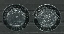 A53 - RAS AL KHAIMA Complete Set Of 2 Stamps. JFK Kennedy Half Dollar-Shaped Embossed Foil. MNH / ** - Kennedy (John F.)