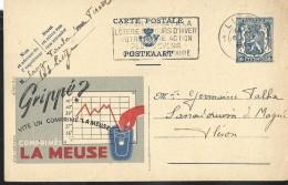 Publibel Obl. N° 548 ( Grippé ?  Vite Un Comprimé LA MEUSE) Obl: Liège  1944 - Enteros Postales