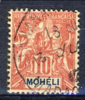 Moheli 1906 - 07 N. 5 C. 10 Rosso Usato Catalogo € 2,70 X