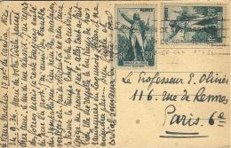 1936- C P A D´Antibes Affr. N° 314 X 2 Rouget De L´Isle  ( Coll. Multiple ) Pour Paris - Marcofilia (sobres)