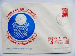 Cover From Liepaja Latvia Soviet Occupation Period Ussr Special Cancel 1963 Basketball - Lettonia