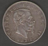 ITALIA 5 LIRE 1872 VITTORIO EMANUELE II AG SILVER - 1861-1878 : Vittoro Emanuele II
