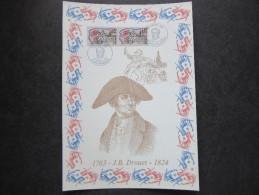 """FRANCE 1989 : Encart Premier 1er Jour Sur Soie N°té (769/1750) """" J.B. DROUET """" NEUF Timbre - FDC"""