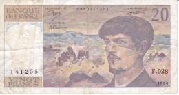 BILLETE DE FRANCIA DE 20 FRANCS DEL AÑO 1990 SERIE F  (BANKNOTE) CLAUDE DEBUSSY - 20 F 1980-1997 ''Debussy''