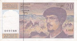 BILLETE DE FRANCIA DE 20 FRANCS DEL AÑO 1997 SERIE J  (BANKNOTE) CLAUDE DEBUSSY - 20 F 1980-1997 ''Debussy''