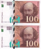 PAREJA CORRELATIVA DE FRANCIA DE 100 FRANCOS DEL AÑO 1998 DE CEZANNE  (BANKNOTE) - 1992-2000 Ultima Gama