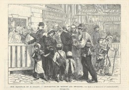 GRAVURE De 1880... FETE NATIONALE Du 14 JUILLET.. Distribution De Secours Aux Indigents, Vue Prise à La Mairie Du VIe Ar - Estampes & Gravures