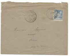 SAGE SUR LETTRE DE MARINGUES (PUY DE DOME) DU 18/2/1890 - 1877-1920: Periodo Semi Moderno