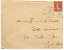 OBLITERATION MANUELLE SUR LETTRE DE SAINT PARDOUX (PUY DE DOME) DU 29/9/1907 - Marcofilia (sobres)