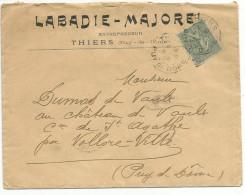 OBLITERATION MANUELLE SUR LETTRE EN TETE DE THIERS (PUY DE DOME) DU 9/10/1905 - 1877-1920: Période Semi Moderne