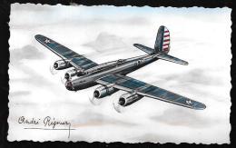"""Boeing """" Forteresse"""" Quadri-moteur De Bombardement 4 Postes De Tirs - Illustration Signée André Régnier  Hat115 - 1939-1945: 2de Wereldoorlog"""