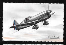 """Caudron """" Cyclone"""" - Entrainement à La Chasse - Illustration Signée André Régnier  Hat117 - 1939-1945: 2de Wereldoorlog"""