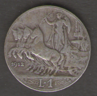 REGNO D´ ITALIA - 1 Lira (1912)  VITTORIO EMANUELE III / AG SILVER - 1861-1946 : Regno
