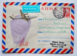 Cover Sent From Estonia To Lithuania Soviet Occupation Period Ussr 1966 Postal Stationary Plane Il-18 Par Avion - Estonie